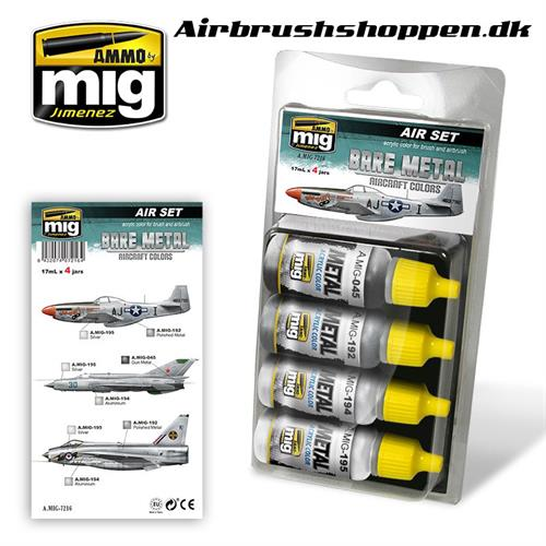 A.MIG 7216 BARE METAL AIRCRAFT COLORS set 4x17 ml