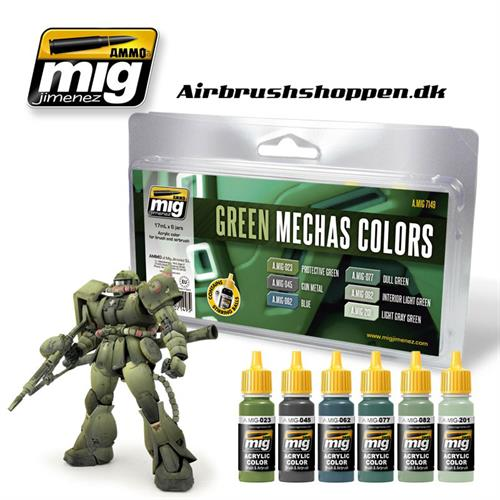 A.MIG-7149 GREEN MECHAS COLORS 6x17 ml