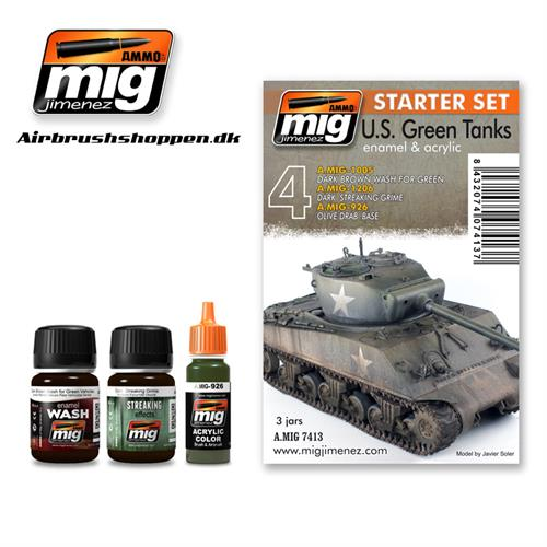 A.MIG 7413 Weathering set US Green Vehicles Start