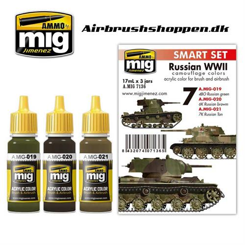 A.MIG 7136 RUSSIAN WWII COLORS 3 x 17 ml