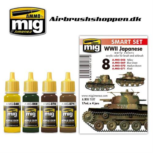 A.MIG 7137 WW II JAPANESE AFV EARLY COLORS 4 x 17 ml