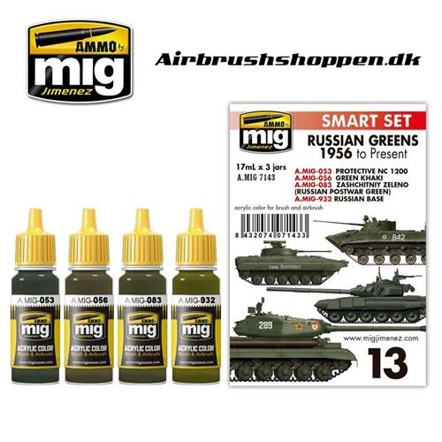 A.MIG 7143 RUSSIAN GREENS - 1956 TO PRESENT COLORS 4 x 17 ml