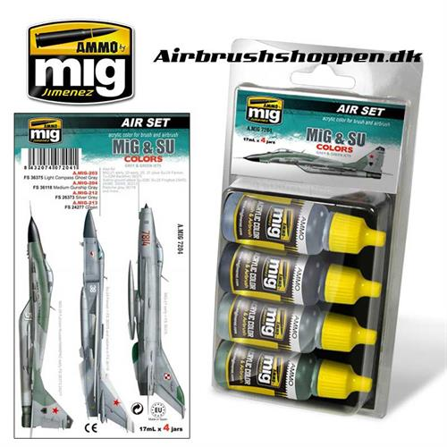 A.MIG 7204 MiG & SU COLORS Grey & Green Fighters