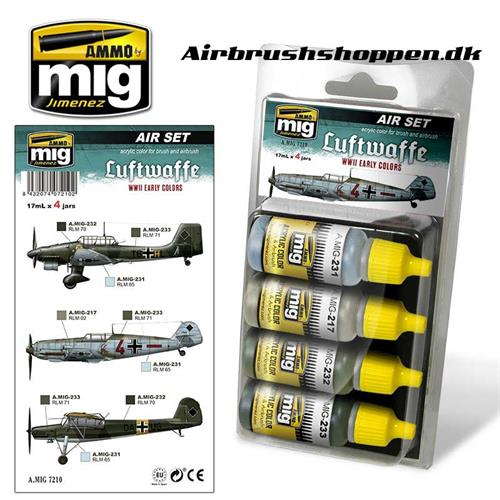 A.MIG 7210 LUFTWAFFE WWII EARLY Aircraft colors 4x17 ml