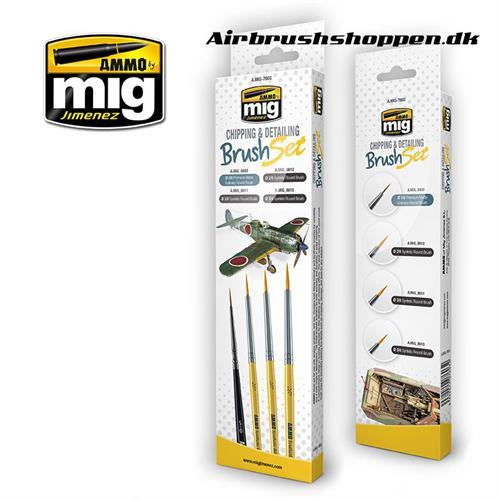 A.MIG 7603 CHIPPING & DETAILING BRUSH SET