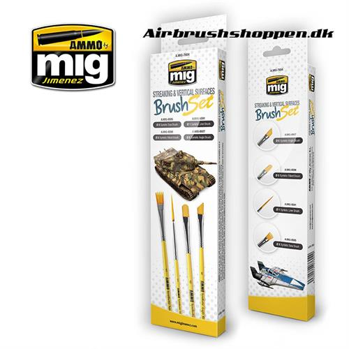 A.MIG 7604 STREAKING AND VERTICAL SURFACES BRUSH SET