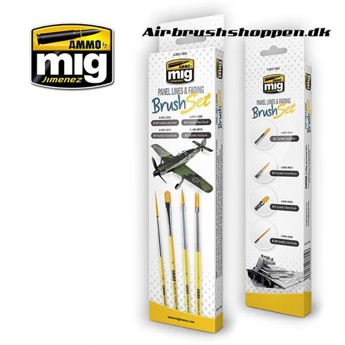 A.MIG 7605 PANEL LINES AND FADING BRUSH SET