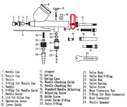 Needle Guide CC Airbrush 130 - 180 - 134 - 181 - 186